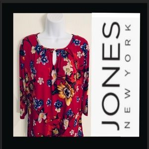 Jones New York Floral tunic blouse NWT top